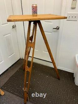 KEUFFEL & ESSER WOODEN DRAFTING TABLE TRIPOD With GURLEY SCREW-ON TABLETOP VINTAGE