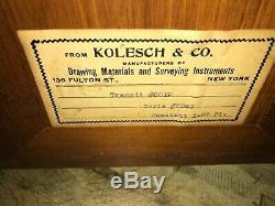 KOLESCH AND CO Vintage Wood Brass Surveyors Transit Tripod Scope Transit Survey