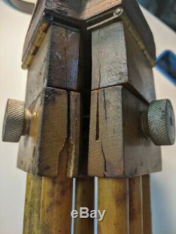 LK. Vintage PANRITE Wooden Wood Camera Tripod with Universal Head Nice
