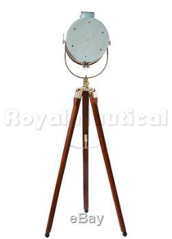 Lamp Tripod Floor Vintage Nautical Light Designer Wood Decor Wooden Industrial