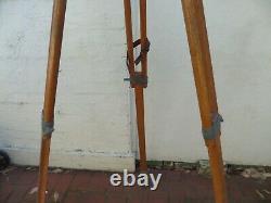 Large Antique Vintage Old Wooden Timber Surveying Tripod
