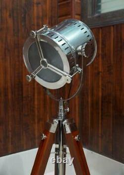 Large Vintage Nautical Tripod Theater Floor Lamp Studio Search Light Home Decor
