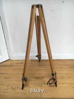 Large Vintage Wooden Theodolite / Survey Tripod