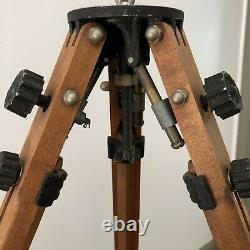 Large Vintage Wooden Tripod Empire Devices NY Made, RIES Knobs Adjustable Height