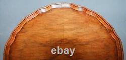 Lovely Vintage Walnut Pie Crust Edge Tripod Lamp Side End Wine Table Three Leg