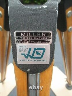 MILLER WOODEN TRIPOD VINTAGE With MILLER SUPER 8 FLUID HEAD PHTOGRAPHY CAMERA