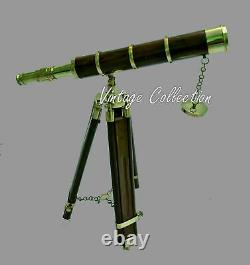 Marine Antique Nautical Vintage Brass Telescope With Wooden Tripod Stand 18 inch
