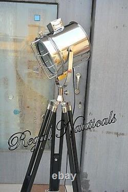 Marine Search Light with Black Wood Tripod Vintage Designer Nautical Floor Lamp