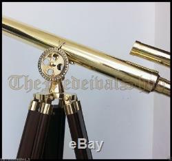 Marine US Navy Double Barrel Tripod Telescope Spyglass Vintage Nautical Decor