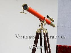 Marine-navy-brass-telescope-double-barrel-with-wooden-tripod-vintage-home-decor