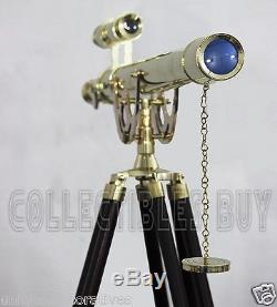 Maritime Brass Telescope Master Harbor Vintage Solid Brass Adjustable Tripod