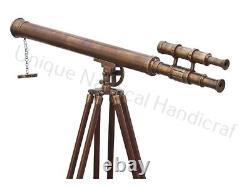 Master harbor Floor Wooden Tripod Floor Standing Vintage Antique Brass Telescope