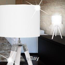 Mia Tripod Table Lamp 670mm /Fabric/Umbrella/Shabby/ Vintage/White/Wood / Nac