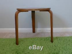 Mid Century Bentwood Tripod Table Alvar Aalto Style Vintage Low Stacking Stool
