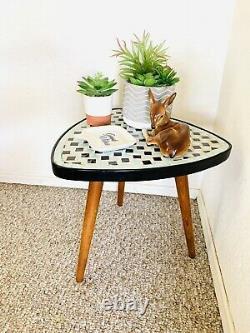 Mid Century Mosaic Tripod Plant Table 50s 60s German Vintage Plant Stand