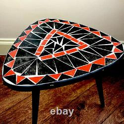 Mid Century Vintage Retro Tripod Plant Stand Wood & Mosaic Glass Top Side Table