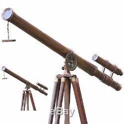 NAUTICAL Maritime Tripod Floor Telescope Brass Heavy Vintage Home & Decor