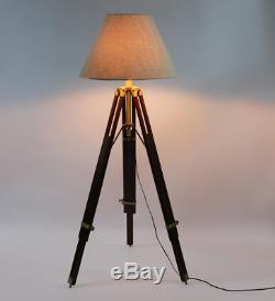 NauticalMart Floor Lamp Vintage Floor Standing Tripod Wooden Stand