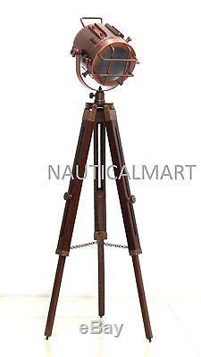 NauticalMart Marine Nautical Searchlight Wooden Tripod Vintage Decorative