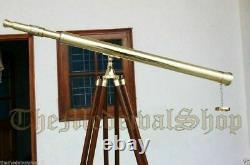 Nautical Brass TELESCOPE 39 Inch Wooden Tripod Stand Spyglass Antique Vintage