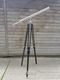 Nautical Brass Telescope With Wooden Tripod Stand Vintage Maritime Decor