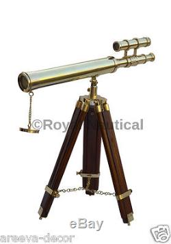 Nautical Brass Vintage Looks Telescope 10x Lense With Wooden Tripod Stand