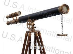 Nautical Brass Vintage Telescope With Tripod Stand Watching Brass Spyglass