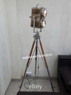 Nautical Camera Spotlight Floor Lamp Wooden Vintage With Tripod Home Decor Lamp
