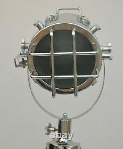Nautical Chrome Vintage Floor Lamp Brown Polish Tripod Lamp Stand Handmade Gift