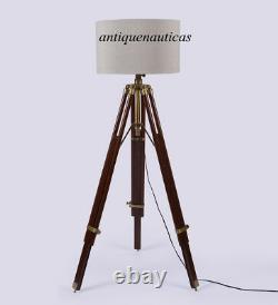 Nautical Classical antique designer wooden floor lamp shade tripod stand