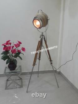 Nautical Collectible Searchlight Vintage Floor Lamp Spotlight Wood Tripod Stand