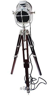 Nautical Designer Chrome Tripod Floor Lamp Vintage Industrial Spot Light Lamp Us