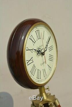 Nautical India Wooden Wall Clock with Tripod Stand Home Decor Vintage Clock