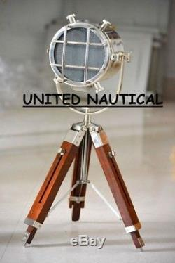 Nautical Industrial Spot Light With Wooden Tripod Lighting Floor Vintage stand