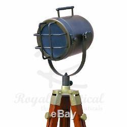 Nautical LED Vintage Antique Look Theatre Spot Light Wooden Tripod Floor Lamp