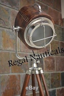 Nautical Marine LED Searchlight Vintage Wood Light Lobby Tripod Floor Lamp Spot