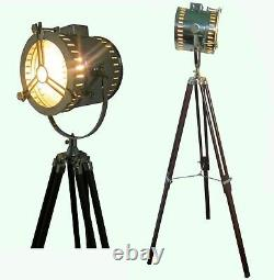 Nautical Search Spot Light Vintage Antique Style Floor Lamp WithWood Tripod Item