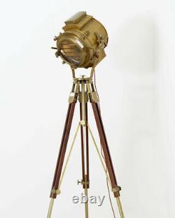 Nautical Spotlight Searchlight Tripod Lighting Stand Vintage Floor Lamp