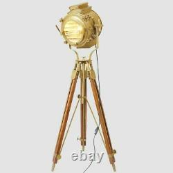 Nautical Spotlight Searchlight Tripod Lighting Stand Vintage Floor Lamp Studio S