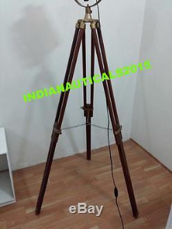 Nautical Spotlight Searchlight Vintage Style Wooden Tripod Floor Lamp Decor