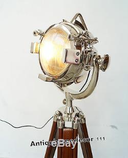 Nautical Spotlight Searchlight Vintage Style Wooden Tripod Floor Lamp Light