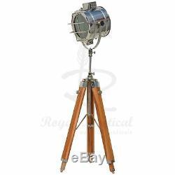 Nautical Spotlight White LED Light Wooden Tripod Floor Lamp Vintage Style