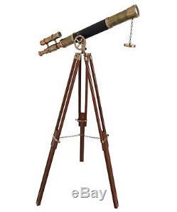 Nautical Spyglass Wooden Tripod Telescope Vintage Marine Double Barrel Scope