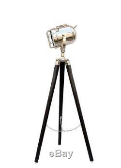 Nautical Vintage Marine Chrome Searchlight Spotlight Lighting Wooden Tripod Lamp