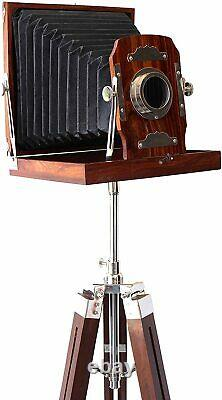 Nautical Vintage Old London Theme Wooden Camera with Tripod Stand FatherDay Decor