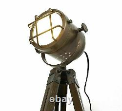 Nautical Vintage Sport light Search Light With Wooden Tripod 42 inch Home Decor