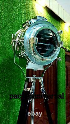 Nautical Vintage Spot Light With Steel, Wooden Tripod Classical Floor Lamp