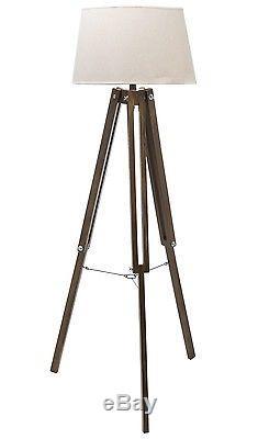 Nautical Vintage Style Tripod Floor Lamp Natural Light Shade Dark Wood Legs NEW