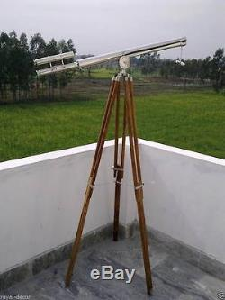 Nautical Vintage Telescope maritime Brass Nickel Finish On Wooden Tripod Stand