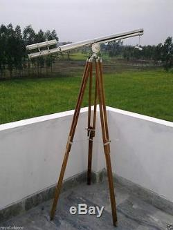 Nautical Vintage Telescope maritime Brass Nickel Finish On Wooden Tripod Stand